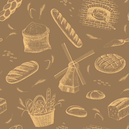 Vector hand drawn bakery seamless pattern. Windmill, oven, bread, basket, flour, wheat illustration. Bakery background. Illustration