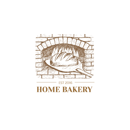 Vector hand drawn bakery logo, badge, emblem. Bread, oven illustration. 矢量图像