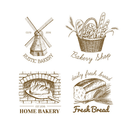 Vector Hand Drawn Bakery Logos Badges Emblems Collection Windmill Oven Bread