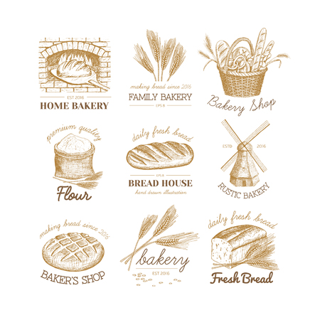 Vector hand drawn bakery logos, badges, emblems collection. Windmill, oven, bread, basket, flour, wheat illustration. 일러스트