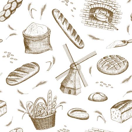 Vector hand drawn bakery seamless pattern. Windmill, oven, bread, basket, flour, wheat illustration. 일러스트
