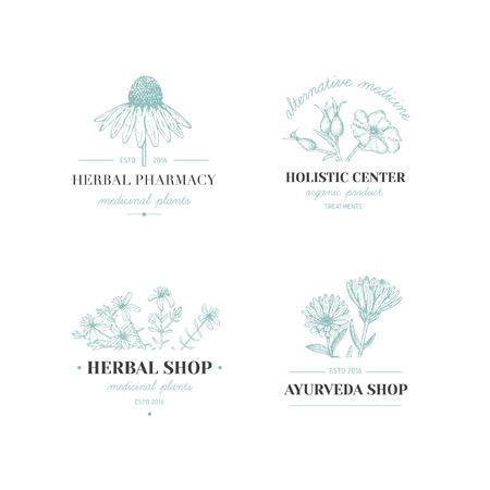 Vector vintage hand drawn herb logos. Alternative medicine, ayurveda, pharmacy, homeopathy, beauty shop, holistic center logos, badges, emblems.