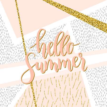 Vector hand written word hello summer. Modern brush lettering, calligraphic quote hello summer.