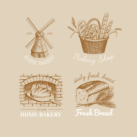 Vector hand drawn bakery logos, badges, emblems collection. Windmill, oven, bread, basket, flour, wheat illustration. Stock Illustratie