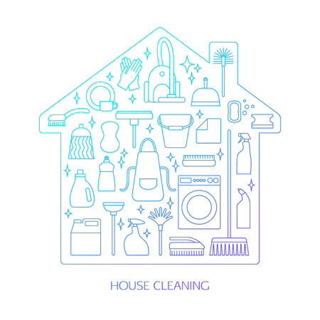 Vector trendy flat cleaning icon set. Includes vacuum cleaner, protective gloves, plunger, spray bottle, wipe, squeegee, sponge, bucket, mop, brush, duster and many more. Vetores