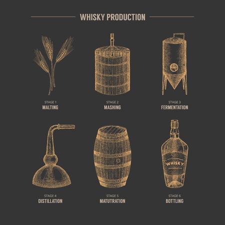 Vector dibujado a mano elementos de producción de whisky.