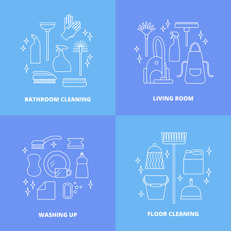 Vector trendy flat cleaning icon set. Vacuum cleaner, protective gloves, plunger, spray bottle,  wipe, squeegee, sponge, bucket, mop, brush, duster and many more.