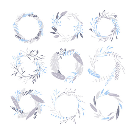 Vector hand drawn collection of wreath vector frames. Simple drawings of plants. Cute hipster wreaths.