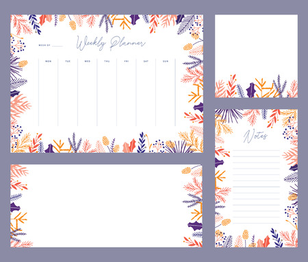 Cute vector winter weekly planner templates. Elegant Christmas floral pastel tone organizers and notepads. Week calendar schedule stationery.