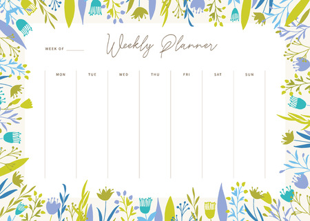 Cute vector weekly planner template. Elegant floral pastel tone organizer and notepad. Week calendar schedule.