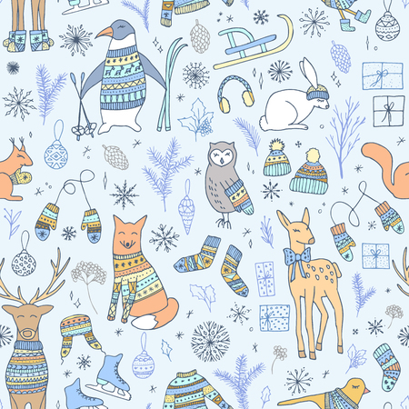 Vector hand drawn cute forest animals seamless pattern. Stylish and elegant cartoon Christmas animals in sweaters. Cute and childish hipster Christmas background.
