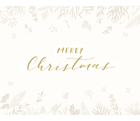 Elegant stylish Christmas greeting card design. Minimalist vector hand drawn holiday postcard, delicate winter leaves and branches. Gentle calligraphic festive lettering quote. Merry Christmas. 向量圖像