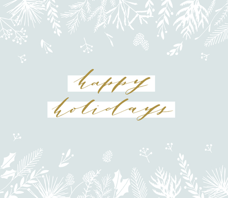 Elegant stylish Christmas greeting card design. Minimalist vector hand drawn holiday postcard, delicate winter leaves and branches. Gentle calligraphic festive lettering quote. Happy Holidays. 版權商用圖片 - 127620697