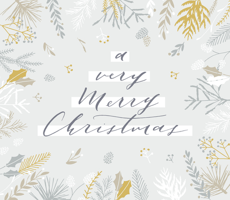 Elegant stylish Christmas greeting card design. Minimalist vector hand drawn holiday postcard, delicate winter leaves and branches. Gentle calligraphic festive lettering quote. A very Merry Christmas.