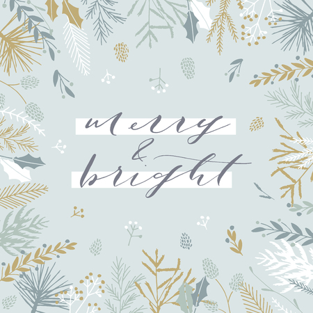 Elegant stylish Christmas greeting card design. Minimalist vector hand drawn holiday postcard, delicate winter leaves and branches. Gentle calligraphic festive lettering quote. Merry and bright.  イラスト・ベクター素材