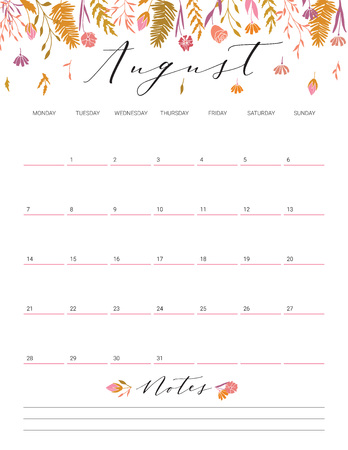 Elegant floral bright print ready calendar. August month colorful calendar or planner with space for notes. 向量圖像