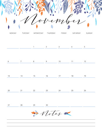 Elegant floral bright print ready calendar. November month colorful calendar or planner with space for notes.