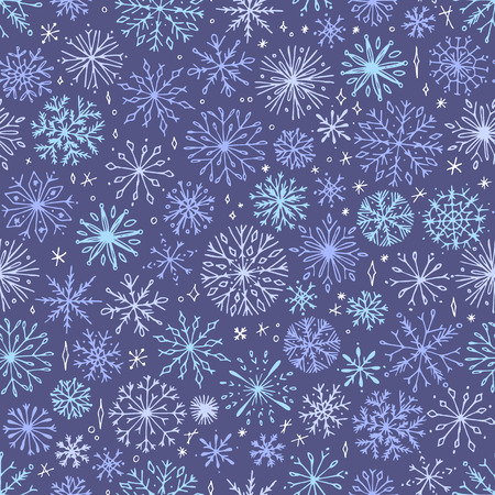 Vector seamless snowflake pattern. Elegant christmas background. Hipster minimalist seamless pattern design. Winter intricate pattern. 向量圖像