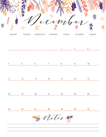 Elegant floral bright print ready calendar. December month blue calendar or planner with space for notes.