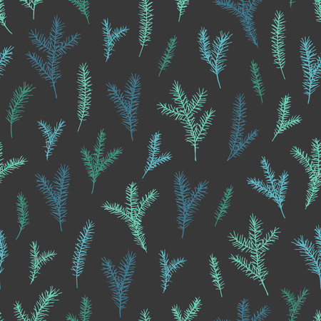 Vector hand drawn elegant minimalist spruce seamless pattern. Cute Christmas, branch background and pattern.