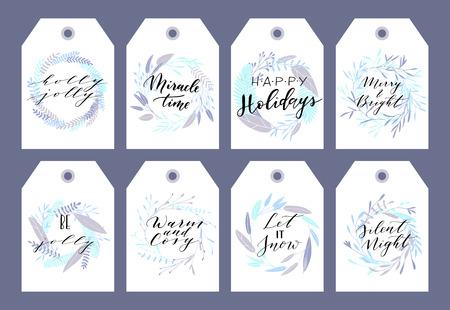 Grande collection vectorielle de phrases et de citations de Noël écrites à la main. Étiquettes de lettrage calligraphiques élégantes, cartes.