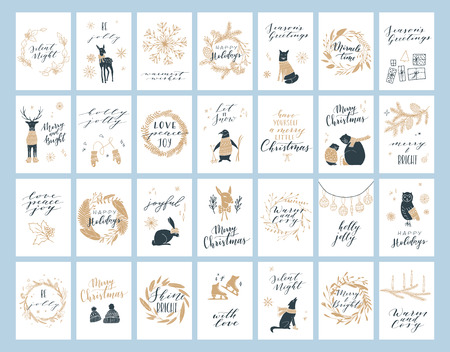 Vector big collection of hand written christmas phrases and quotes. Elegant calligraphic lettering cards. Cute winter graphic elements.
