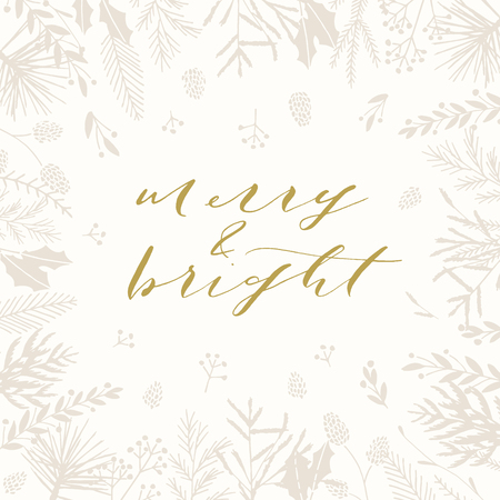 Elegant stylish Christmas greeting card design. Minimalist vector hand drawn holiday postcard, delicate winter leaves and branches. Gentle calligraphic festive lettering quote. Merry and bright. 向量圖像