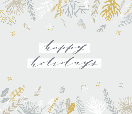 Elegant stylish Christmas greeting card design. Minimalist vector hand drawn holiday postcard, delicate winter leaves and branches. Gentle calligraphic festive lettering quote. Happy Holidays.
