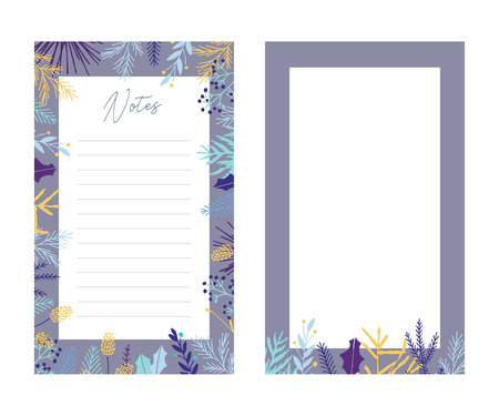 Cute vector notes templates. Elegant Christmas winter pastel tone organizer and notepad. Floral stationery.