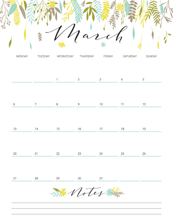 Elegant floral bright print ready calendar. March month green calendar or planner with space for notes.