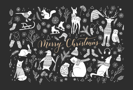 Vector big collection of hand drawn christmas elements. Cute funny animal characters, elegant phrase Merry Christmas.