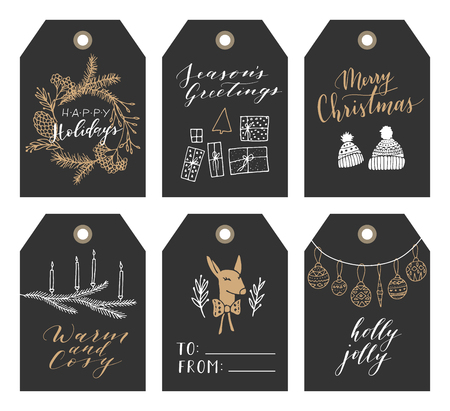 Vector big collection of hand written christmas phrases and quotes. Elegant calligraphic lettering tags, cards. Cute winter graphic elements. 向量圖像