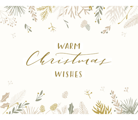 Elegant stylish Christmas greeting card design. Minimalist vector hand drawn holiday postcard, delicate winter leaves and branches. Gentle calligraphic festive lettering quote. Warm Christmas wishes.