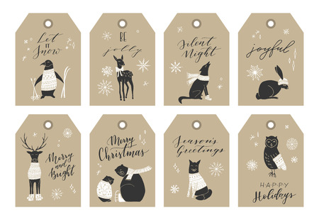 Vector big collection of hand written Christmas phrases and quotes. Elegant calligraphic lettering tags, cards. Cute winter Christmas elements.