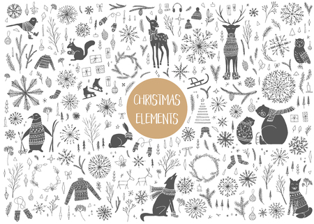 Vector hand drawn cute forest animals collection. Stylish and elegant cartoon animals. Cute and childish hipster christmas elements. 向量圖像