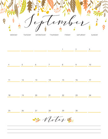 Elegant floral bright print ready calendar. September month colorful calendar or planner with space for notes.