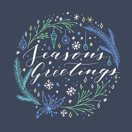 Vector hand written Christmas greeting. Elegant lettering. Winter background. Pastel color holiday card with modern calligraphy. Seasons Greetings. 向量圖像