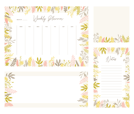 Cute vector weekly planner templates. Elegant floral pastel tone organizers and notepads. Week calendar schedule stationery.