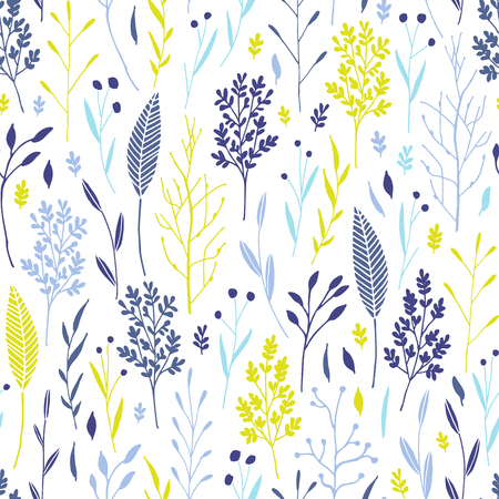 Vector hand drawn floral seamless pattern and backdrop. Elegant plant background. Intricate modern fall and winter flower illustration set. 版權商用圖片 - 127249052