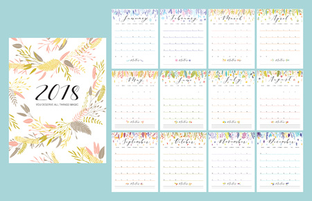 Floral bright 2018 calendar. Flower decorative elegant calendar.