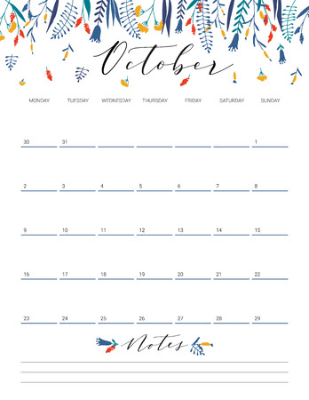 Elegant floral bright print ready calendar. October month colorful calendar or planner with space for notes.