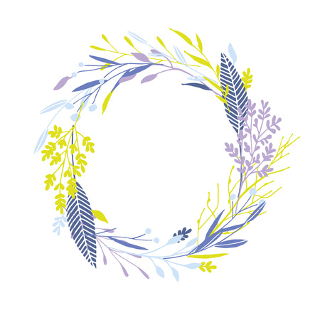 Cute and elegant vector floral round frame. Pastel tone plant circle winter badge and emblem. Christmas wreath. 矢量图像