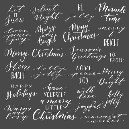 Grande collection de vecteur de phrases et de citations de Noël écrites à la main. Phrases de lettres calligraphiques élégantes. Joyeux Noël. Joyeuses fêtes. Nuit silencieuse. Holly Jolly.