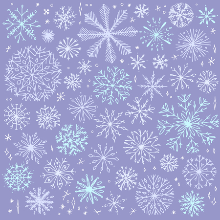 Vector seamless snowflake pattern. Elegant christmas background. Hipster minimalist snowflake collection. Winter intricate pattern. 向量圖像