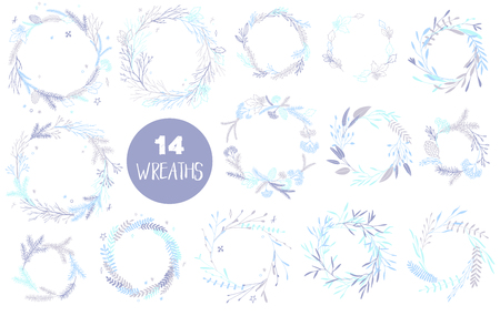 Vector big collection of hand written christmas phrases and quotes. Elegant calligraphic lettering phrases with pastel wreaths.
