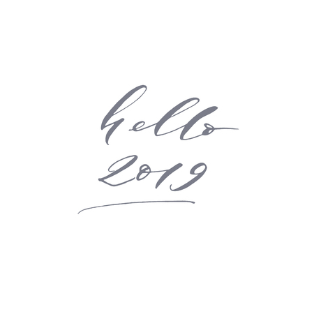 Elegant stylish Christmas hand lettered quote for greeting cards. Minimalist vector hand written holiday delicate phrase. Gentle feminine calligraphic festive brush lettering. Hello 2019 year.