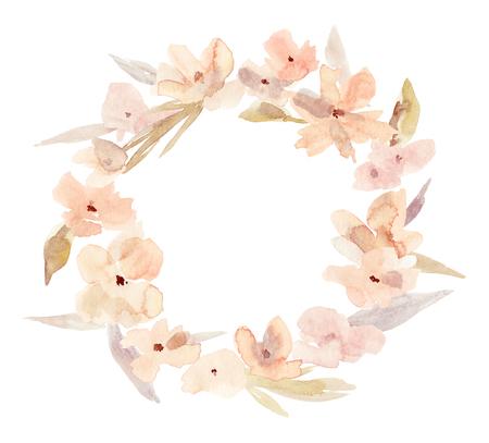 fe4a411bd4d Elegant watercolor abstract floral summer wreath. Feminine trendy flower  illustration