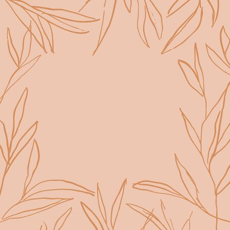 Vector hand drawn abstract leaves frame. Modern and stylish background. Banner or template for social media posts.