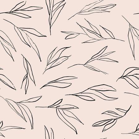 Abstract modern stylish leaves seamless pattern design.