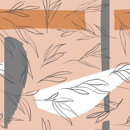 Trendy abstract pattern with leaves and shapes. Illustration